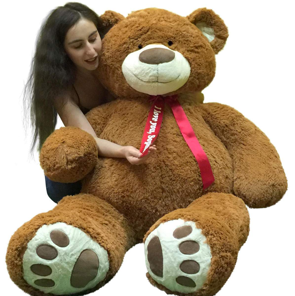 Personalized 5 Foot Very Big Smiling Teddy Bear Five Feet Tall Cookie Dough Brown Color with