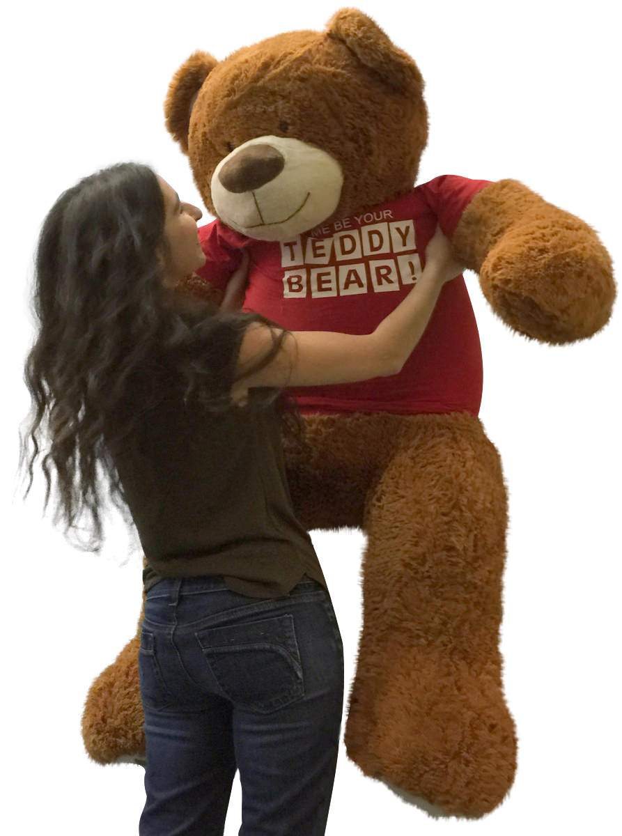 ce4caa8818f ... 5 Foot Giant Teddy Bear 60 Inches Soft Cinnamon Brown Color Wears LET ME  BE YOUR ...