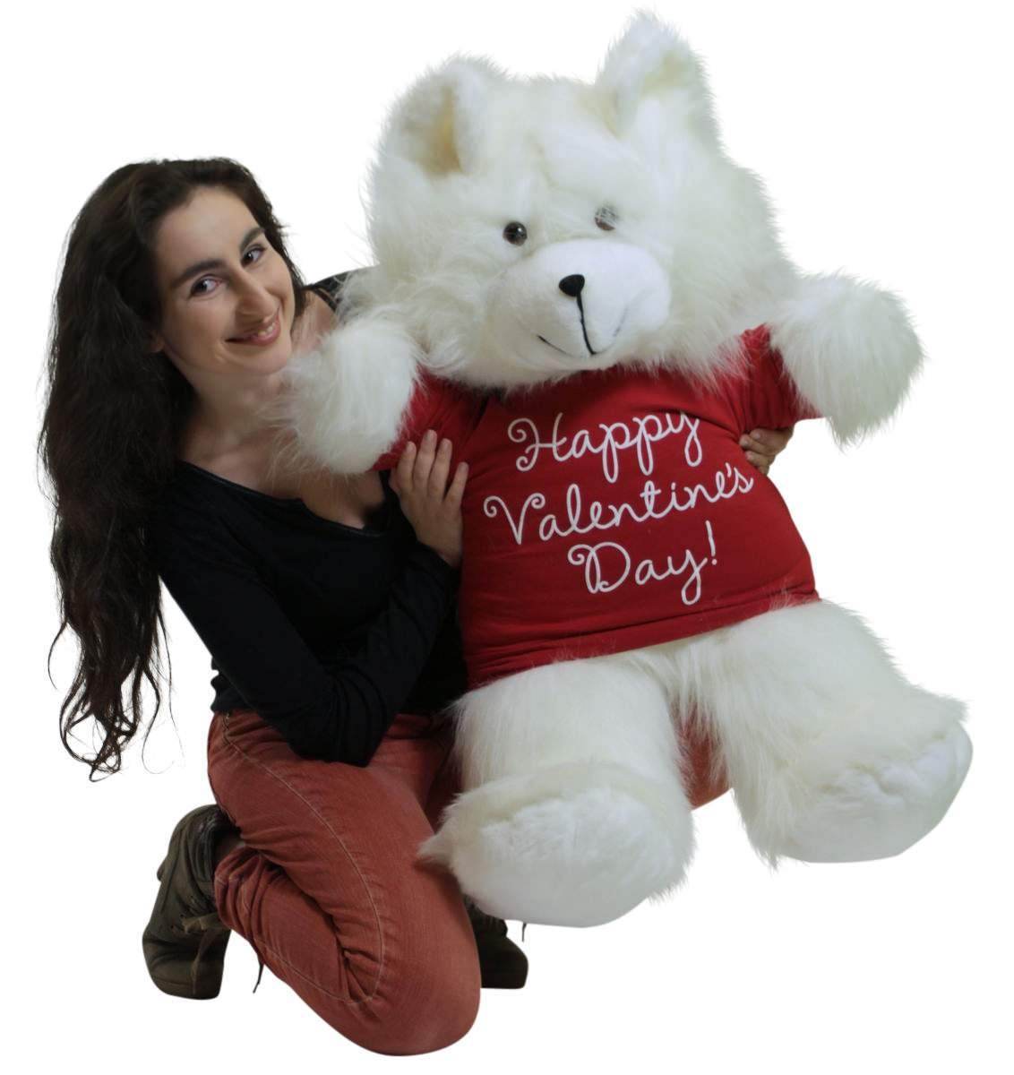 Happy Valentines Day Giant White 36 Inch Teddy Bear Soft Wears