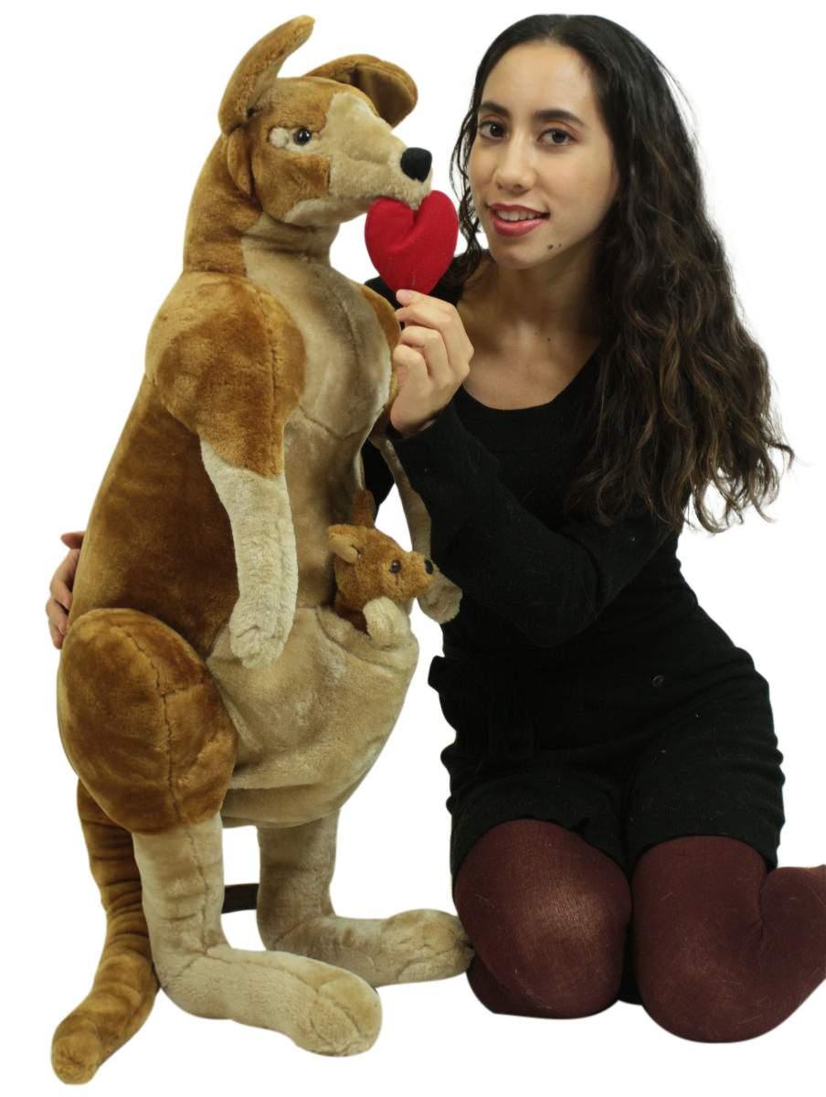 Big Plush Stuffed Valentine Kangaroo With Baby Has Heart Pillow In