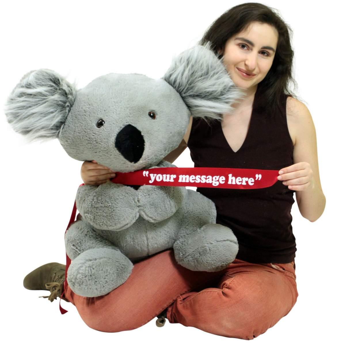 Personalized Large Stuffed Koala Bear 26 Inches Soft American Made