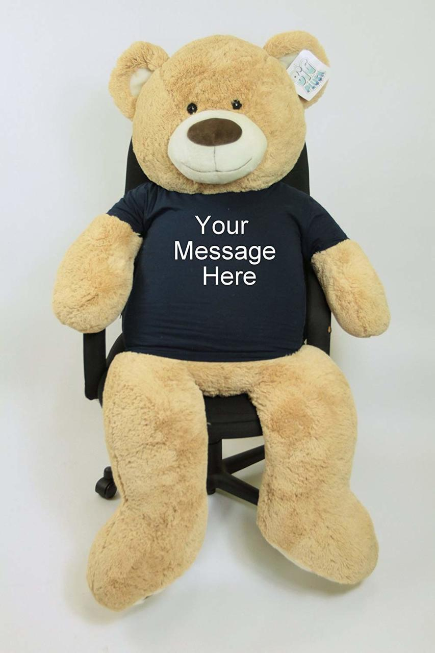 Personalized Big Plush 5 Foot Giant Teddy Bear Wearing Customized T