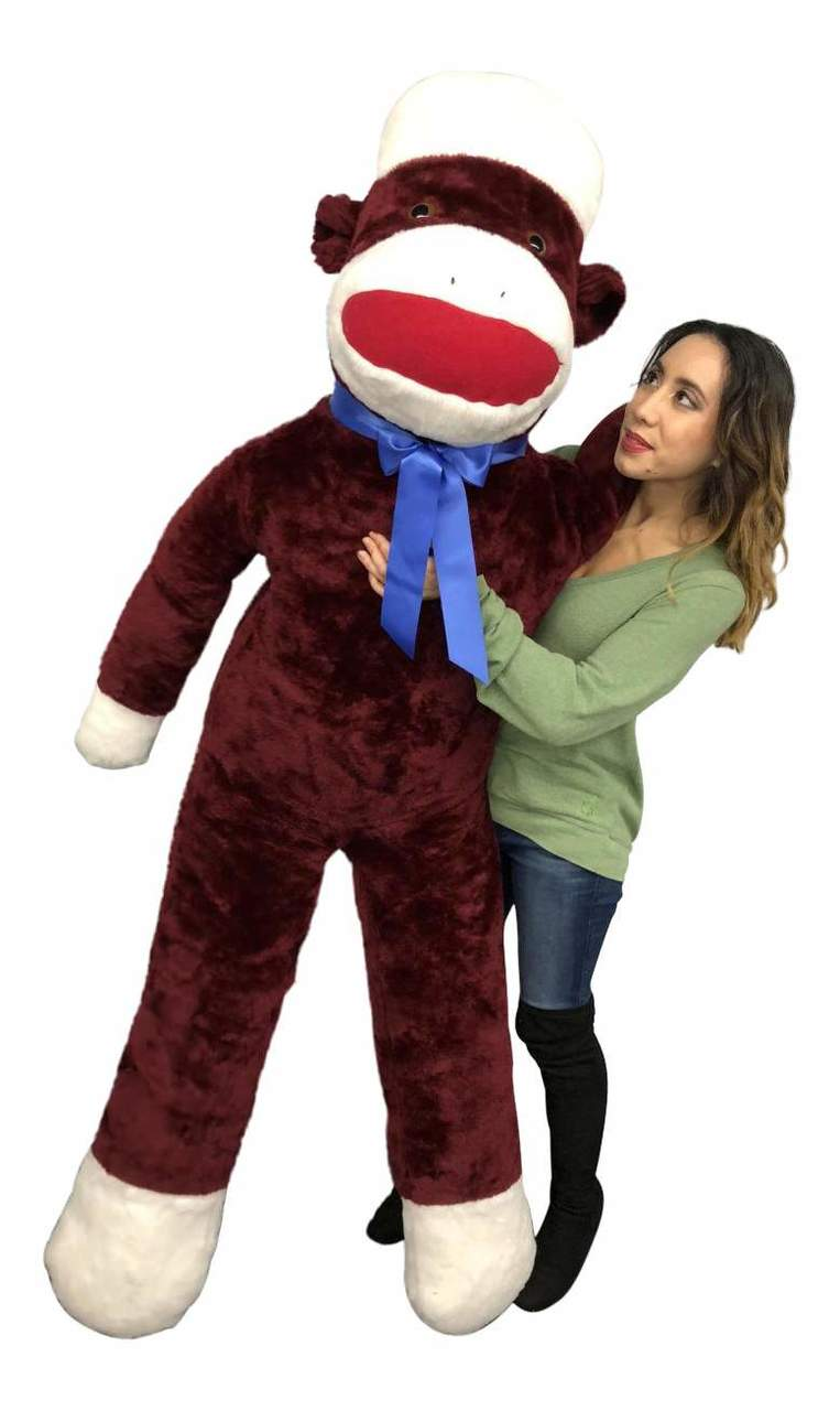 Big Plush Maroon Color 6 Foot Giant Sock Monkey Soft Huge Stuffed