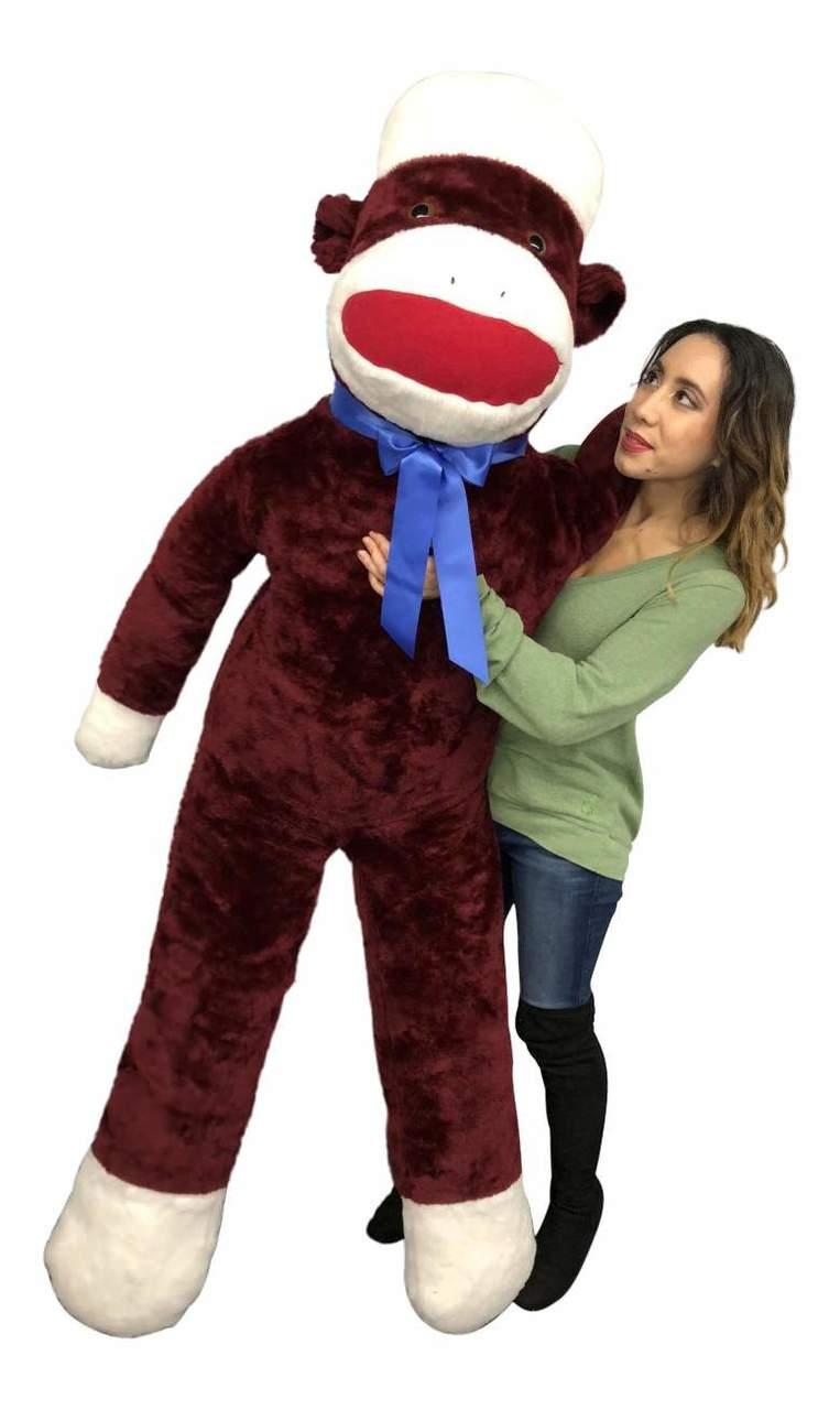 Big Plush Maroon Color 6 Foot Giant Sock Monkey Soft Huge Stuffed