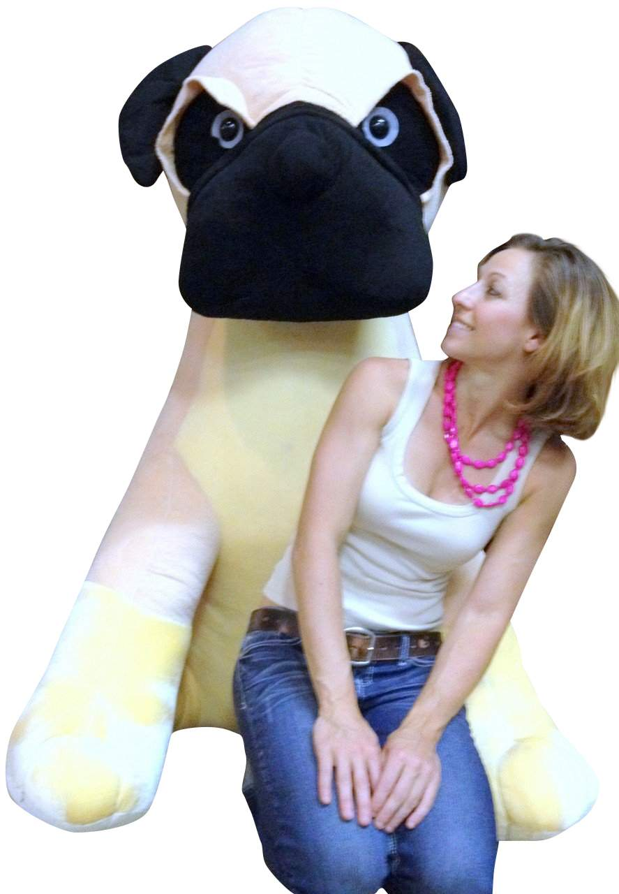 Giant Stuffed Dog Pug 5 Feet Tall Soft 60 Inches Huge Big Plush