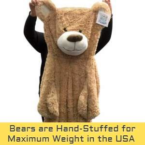 All Big Plush giant teddy bears are hand stuffed for maximum weight and softness right here in the USA.
