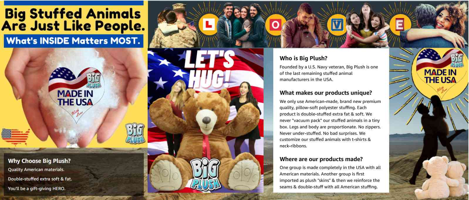 Big Plush About Us - Who is Big Plush? What's so special about the Big Plush brand? All American materials and made with love in the USA. Find Out More.
