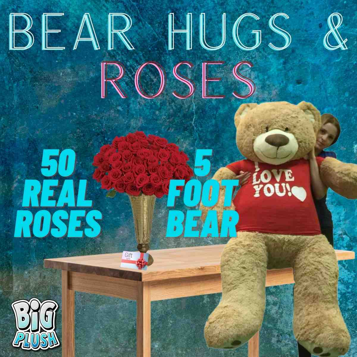 Magnificent Valentine's Day Gift Bundle includes both, a 5 foot giant teddy bear PLUS a huge bouquet of fifty real red roses with vase