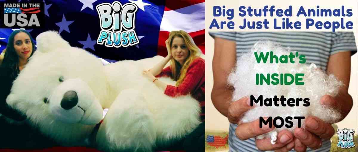 """Big Plush brand giant teddy bears and big stuffed animals all contain Big Plush's unique, premium soft blend of all American made polyester stuffing. This ensures years of use without your stuffed animal becoming """"flat""""."""