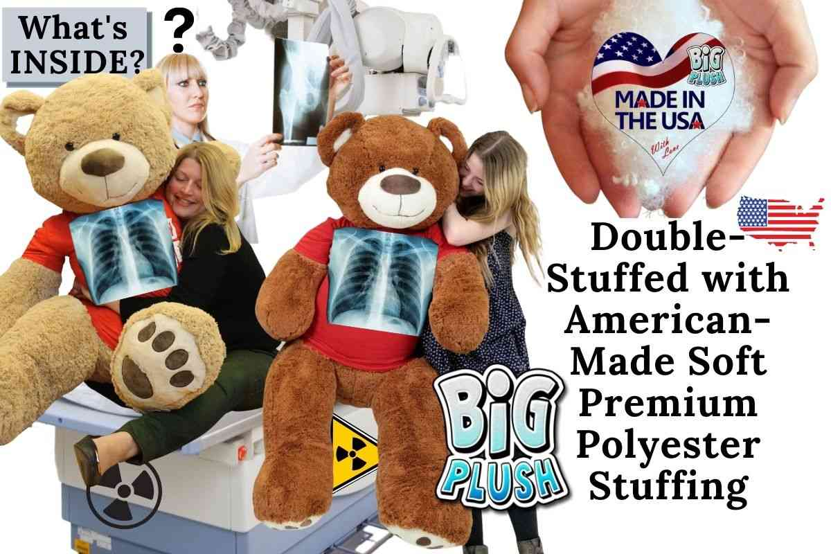 """What's inside YOUR giant teddy bear? All Big Plush brand giant teddy bears are double stuffed extra soft and fat using all American made, premium quality polyester stuffing that is brand new and soft as a pillow. So hug and squeeze to your heart's content, without ever having to worry that your big teddy bear has gone """"flat""""."""