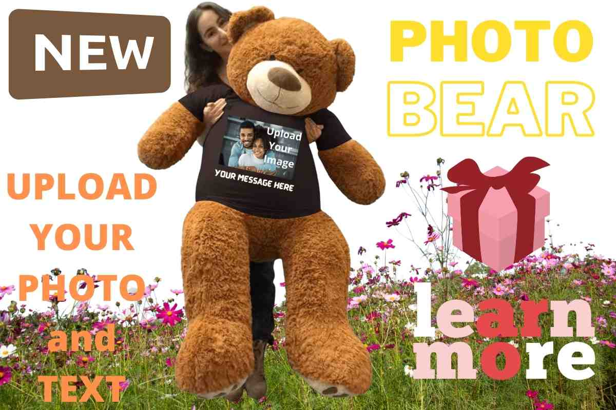 Upload your photo and text and it will be printed on this giant teddy bear's t-shirt
