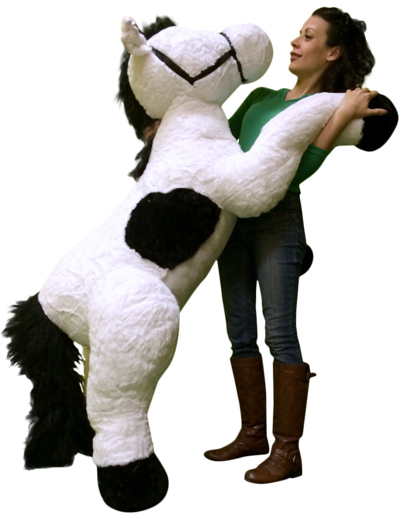 Giant Stuffed Horse 63 Inches Long White Color Stuffed Squishy Soft
