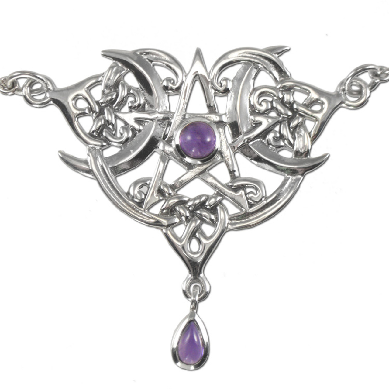 Sterling Silver Heart Pentacle Pentagram Necklace with Amethyst by Dryad Design