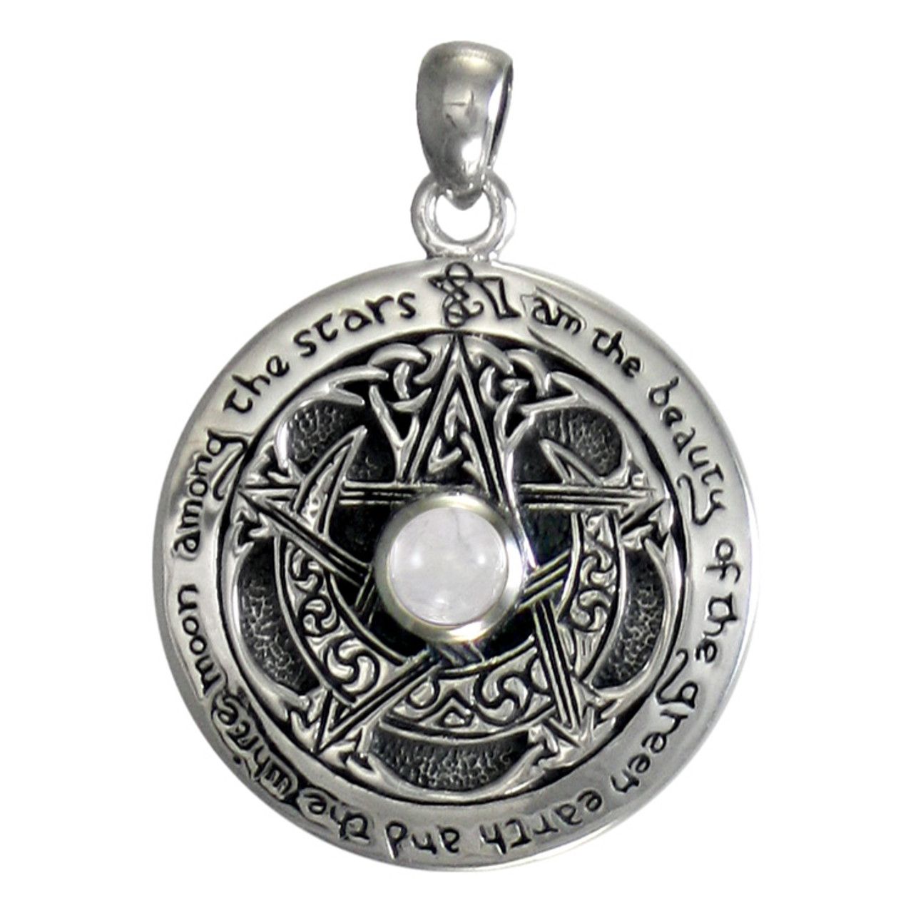 Sterling Silver Moon Phase Pendant  Moonstone Dryad Design Wicca Goddess Pagan