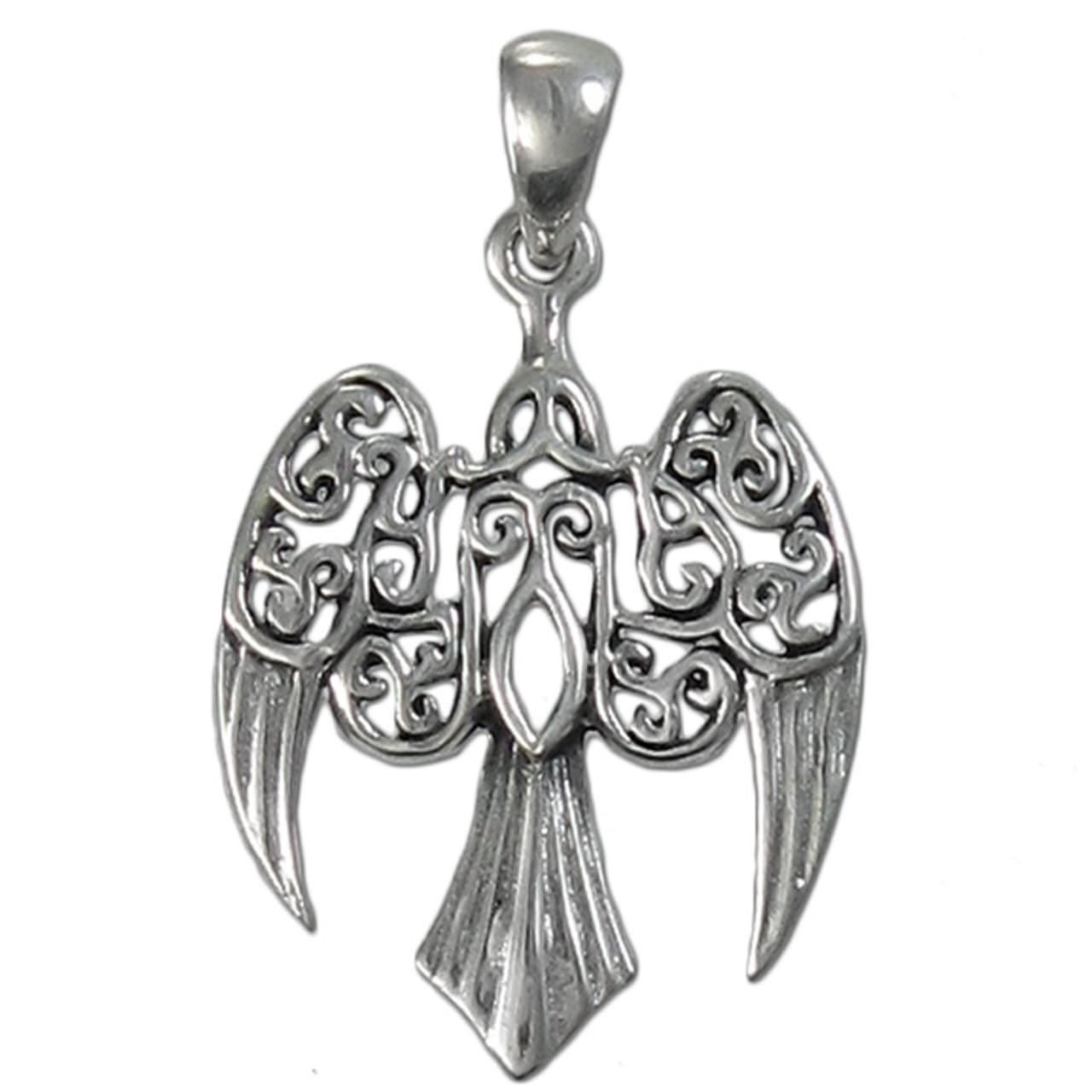 Sterling Silver Morrigan Raven Celtic Knot Knotwork Earrings Crow Dryad Design