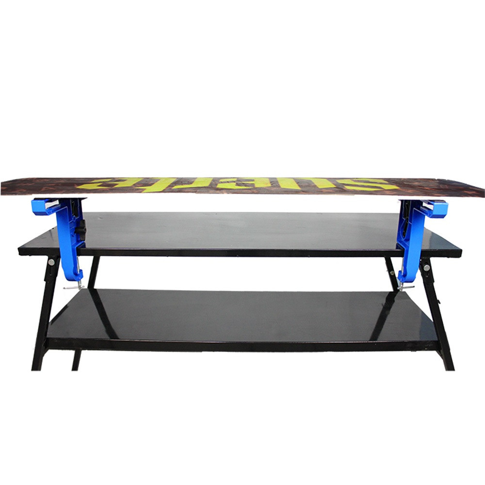 Horizontal placement snowboard for repair your base and tuning your base edge.