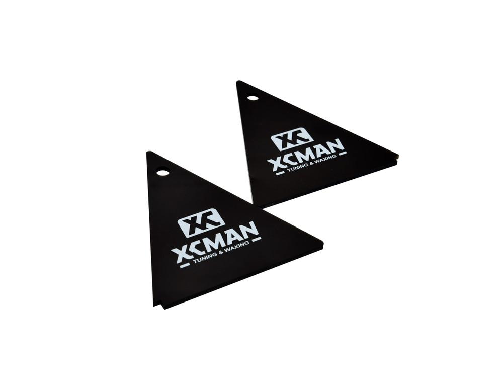 XCMAN Alpine Ski Waxing Triangle Scraper 4mm Thick- Dark Brown, 2pcs