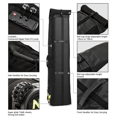 XCMAN Padded Snowboard Bag with Wheels and Lock