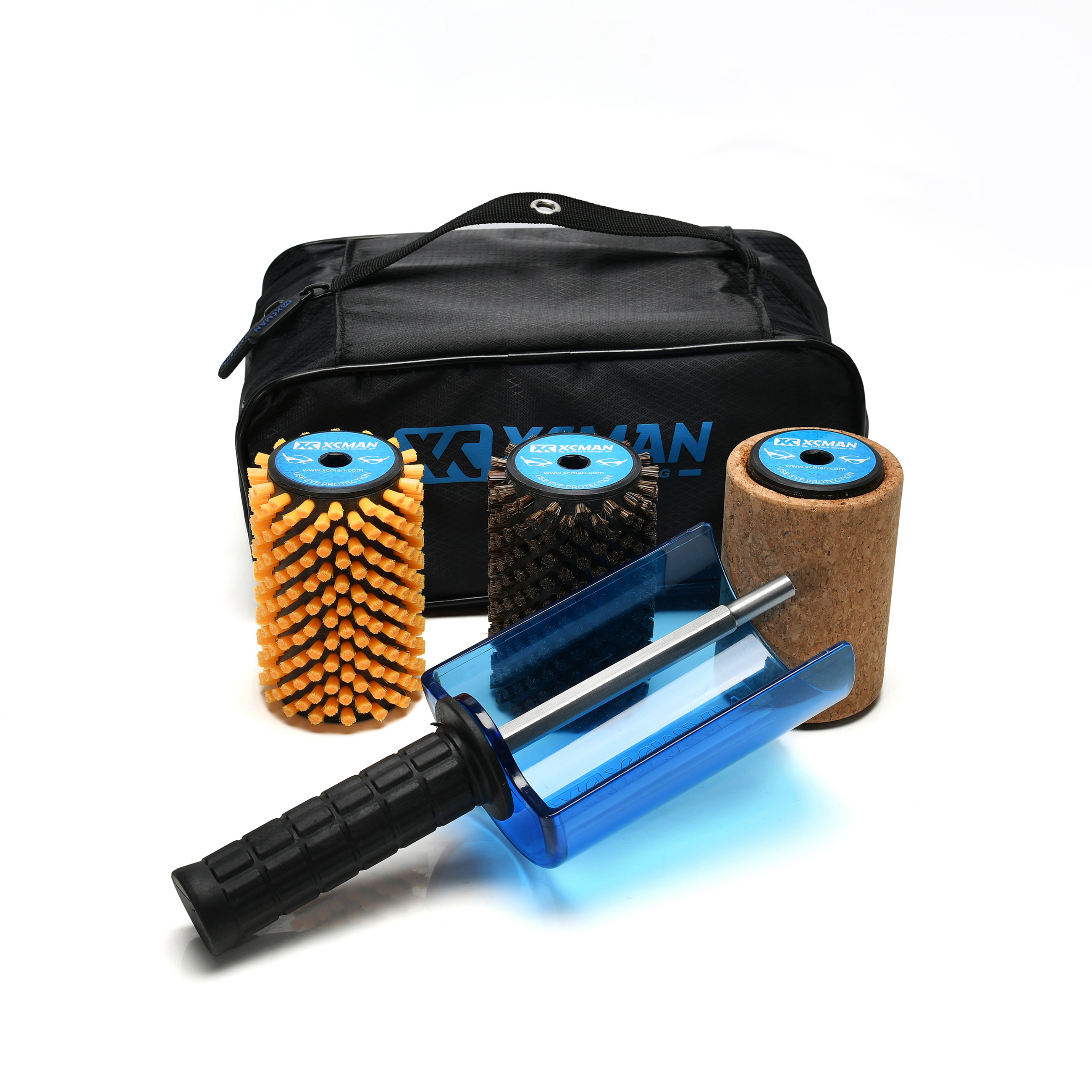 XCMAN Ski Roto Brush Kit Roto Brush Handle Axle with All 3 Brushes:Nylon,Horsehiar,Brass/Cork
