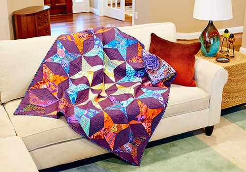 """Kite Block Quilt Finished: 50"""" x 50"""" Fabrics by The Kaffe Fassett Collective for Rowan Fabric"""