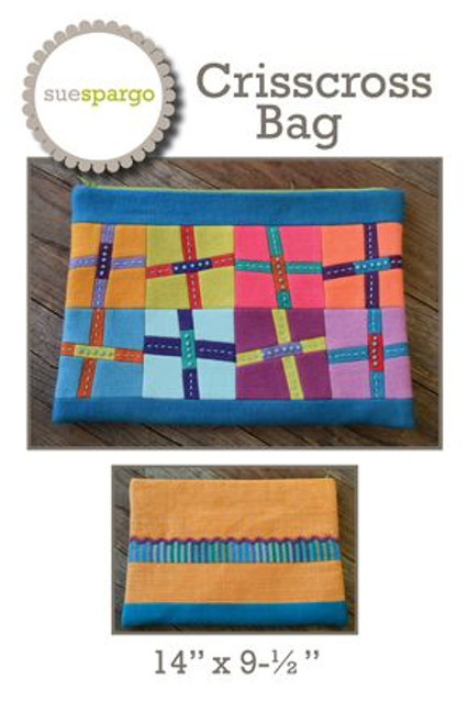 Crisscross Zippered Bag Pattern by Sue Spargo