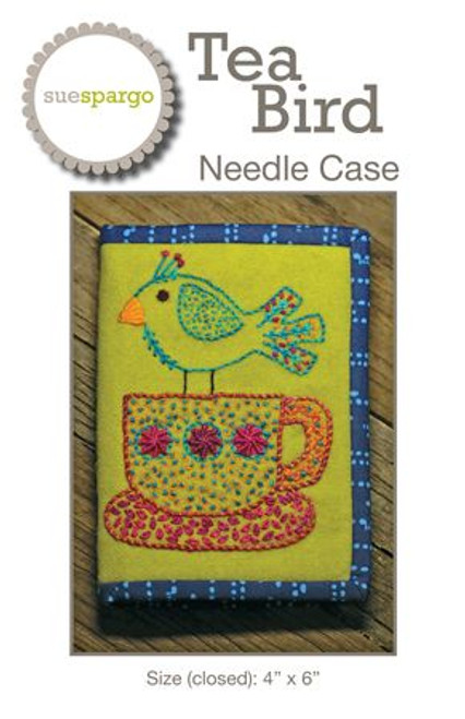 Tea Bird Needle Case Pattern by Sue Spargo