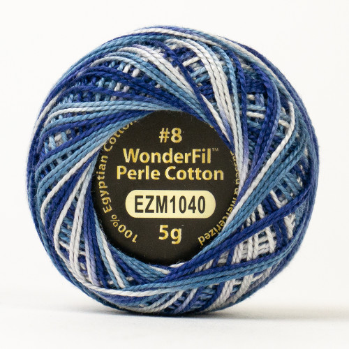 BLIZZARD-#8 Perle cotton, 2-ply 100% long staple Egyptian cotton in variegated colors (EL5GM-1040)