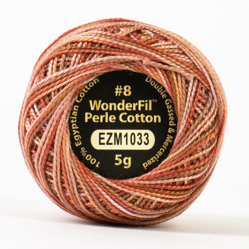 CARPENTER-#8 Perle cotton, 2-ply 100% long staple Egyptian cotton in variegated colors (EL5GM-1033)