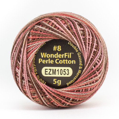 STRAWBERRY CHOCOLATE-#8 Perle cotton, 2-ply 100% long staple Egyptian cotton in variegated colors (EL5GM-1053)