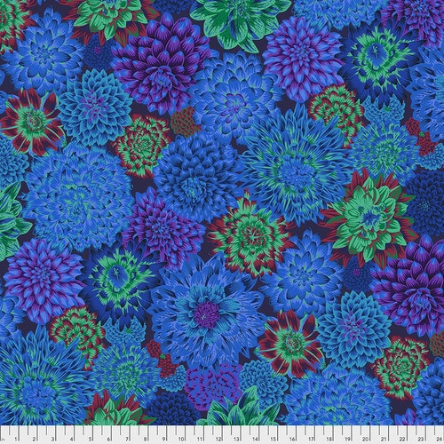 Dancing Dahlias - Blue Philip Jacobs, Kaffe Fassett Collective