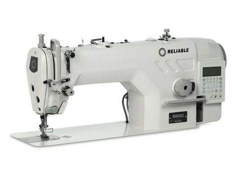The 5000SD Direct Drive single needle lockstitch machine with thread trimmer. The 5000SD is packed with useable technology. Direct drive is a major step above as it eliminates the belt, provides better speed control and positions the needle in the down position to save time and to allow even the novice to sew like a pro. The 5000SD has the versatility you expect, sewing a wide range of light to medium weight fabric.