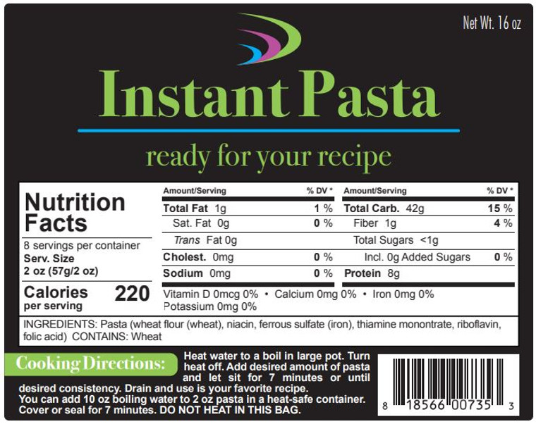 Package label for Instant Pasta (rotini or elbow)