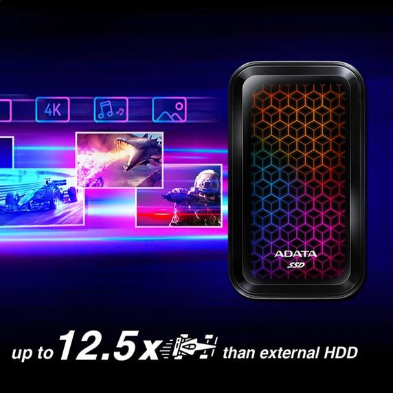 ADATA SE770G 1TB USB-C  3.2 Gen2 External RGB SSD