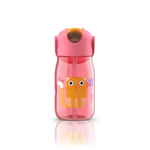 Kids Flip Straw Bottle Red Cat 400ml