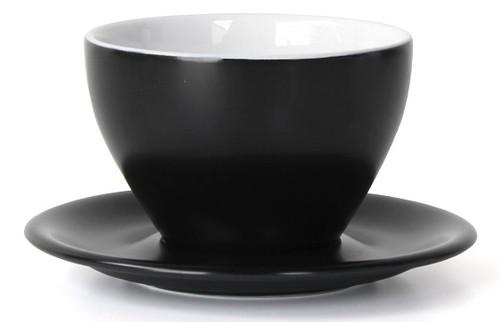 Meno Black Latte Large 12 oz Cup & Saucer