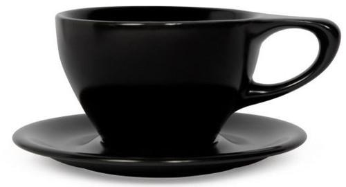 Lino Black Latte Large 12oz Cup & Saucer