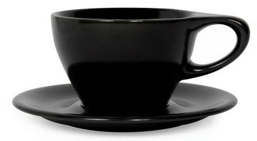 Lino Black Latte Small 8oz Cup & Saucer