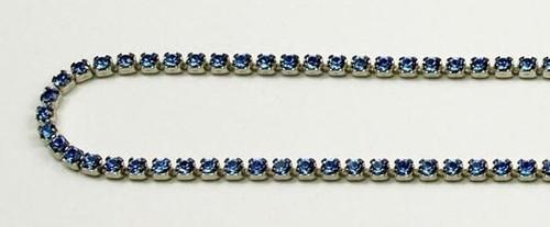 12PP (1.9mm) Sapphire rhinestone cup chain, 120 stones per foot