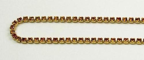 12PP (1.9mm) Topaz rhinestone cup chain, 120 stones per foot