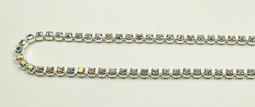 14PP (2.1mm) Crystal AB rhinestone cup chain, 106 stones per foot