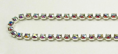 18PP (2.5mm) Crystal AB rhinestone chain, 84 stones per foot