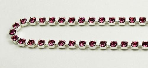 18PP (2.5mm) Rose rhinestone chain, 84 stones per foot