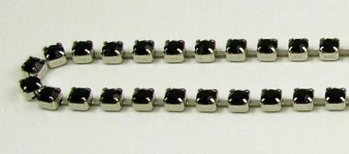 24PP (3.2mm) Jet rhinestone chain, 62 stones per foot