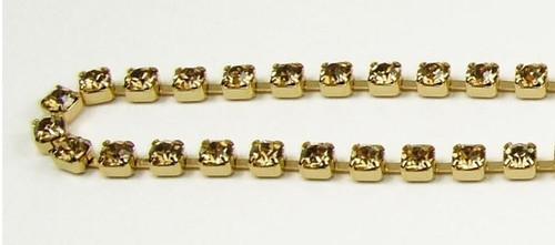 24PP (3.2mm) Light Colorado Topz rhinestone chain, 62 stones per foot