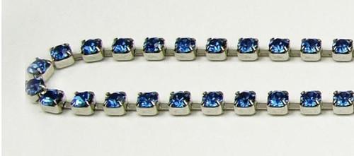 24PP (3.2mm) Sapphire rhinestone chain, 62 stones per foot