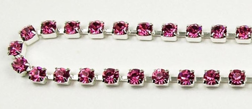 32PP (4.1mm) Rose rhinestone chain, 48 stones per foot