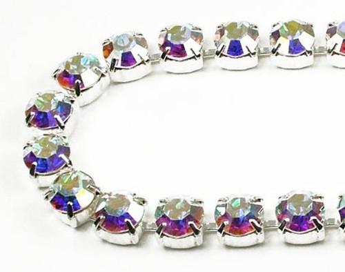 40SS (8.67mm) Crystal AB rhinestone chain, 30 stones per foot