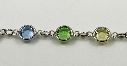 29SS (6.32mm) Light Multi-Colored chanel rhinestone chain, 22 stones per foot