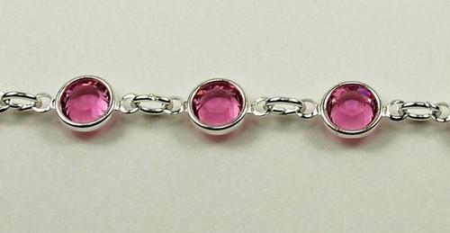 29SS (6.32mm) Rose chanel rhinestone chain, 22 stones per foot