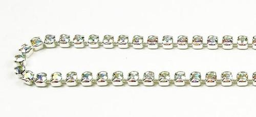 18PP (2.5mm) Crystal AB rhinestone prongless chain, 84 stones per foot